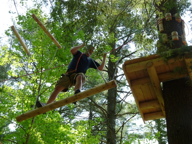 Gilford Fire Department Tests out Aerial Treetops Adventure Course